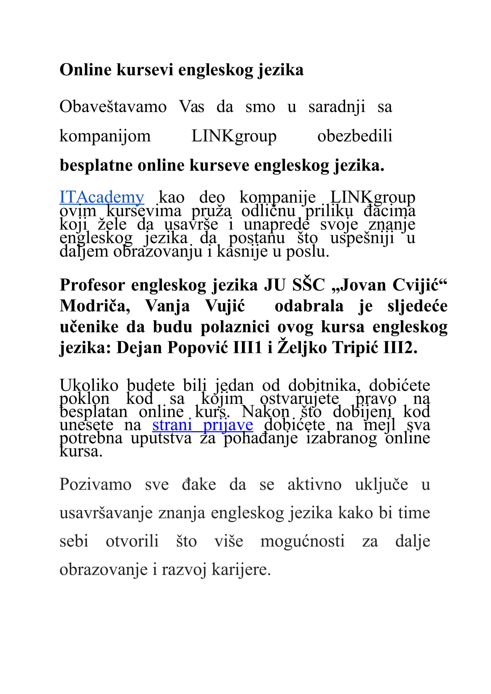 Tekst za objavu - kurs engleskog SRB-1